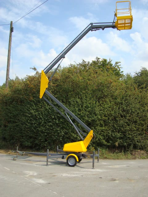 Aerial Scissor lift fully extended side view