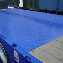 Flatbed truck with new paint finish