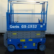 A used blue Genie scissor lift for sale